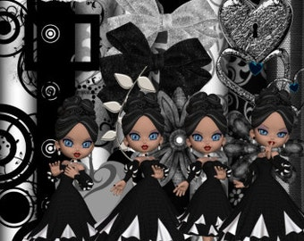 DIGITAL SCRAP KIT - Black & White Girls 1