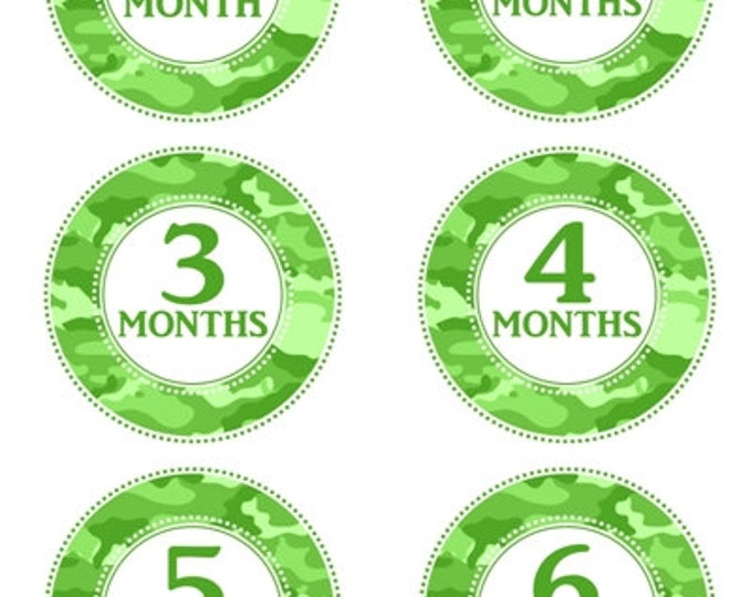 Instant Download - Green Camo Baby Month to Month Stickers, Monthly Birthday Stickers for Baby, Photo Prop Birthday Stickers, Green Camo