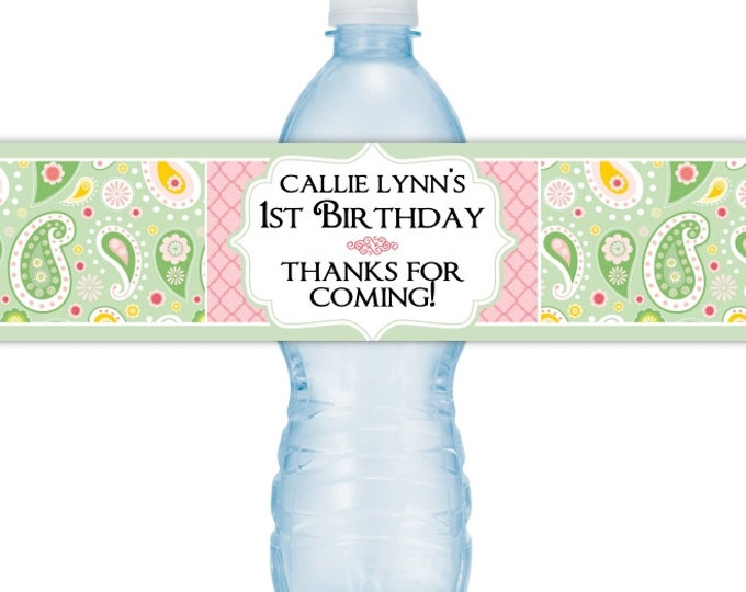 1st Birthday Water Bottle Labels, Printable Water Bottle Labels, CUSTOM Paisley Water Bottle Labels, YOU print, DIY water bottle labels