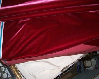 Antique Victorian Silk Velvet Fabric Milinery French Old Store Stock Rare Yardage Pinot Noir