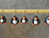 Made to order - Set of 5 Polymer Clay Penguin Knitting Stitch Markers