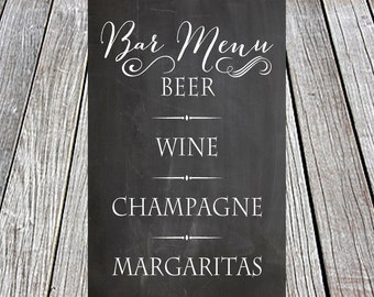 Bar Menu Printable Chalkboard - Wedding, Party, Anniversary, Birthday, Engagement, Graduation, Restaurant, Digital File