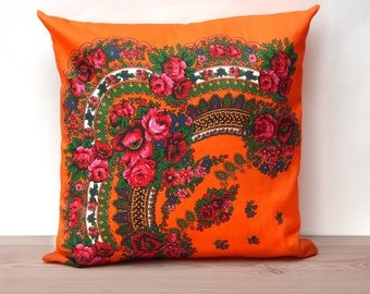 Throw Pillow Cover, Decorative pillow cover, Cushion Cover, Orange, 18'x18', Ukrainian/Russian scarf floral ornaments, Couch pillows, Cotton