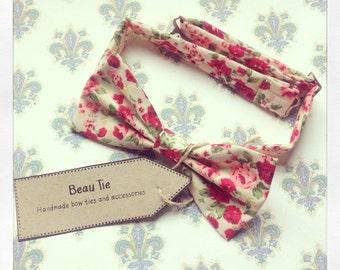 Floral mens bow tie, mens bow tie pink, wedding bow tie, cotton mens bow tie
