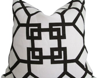 Xu Garden-Windsor Smith for Kravet-Designer Pillow Cover-Brown and Ivory Geometric-Accent Pillow-Double Sided