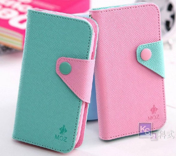 iphone wallet case contrast color case cover with card holder for iphone 4/4s iphone 5/5s