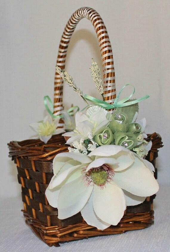 Flower Girl Baskets Green : Items similar to wedding flower girl basket rustic chic
