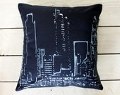 Silver Cityscape Throw Pillow- Hand Made Cushion Cover