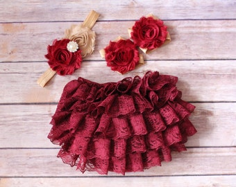3 pc SET-Burgundy / nude - Baby Girl Bloomer - Lace Baby Bloomer / headband / barefoot sandals