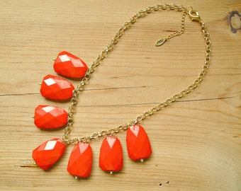 Candy Apple Red Bib Statement necklace, Chunky beaded cherry Red Necklace