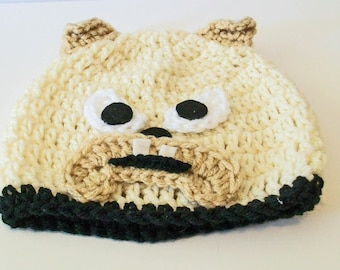 Too Cute Tan Bulldog Hand Crocheted Baby and Childrens Hat Great Photo Prop 5 Sizes Available