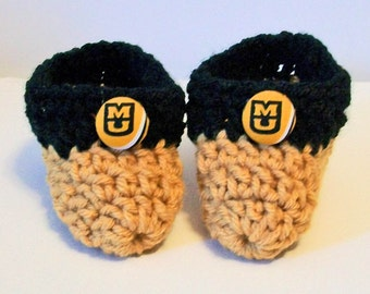 Adorable Hand Crocheted Baby Bootie Shoes Black and Gold Missouri Tigers Inspired Great Photo Prop Matching Hat & Bib Also Available