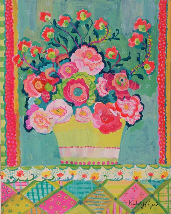 Bright Pink Peonies Giclee Print by Kimberly Hodges, 11 x 14, 16 x 20