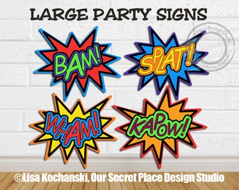 INSTANT DOWNLOAD Bam Splat Kapow Wham Comic Book Baby Shower Super hero Decorations Comic Book Party Superhero Birthday Party Superheroes