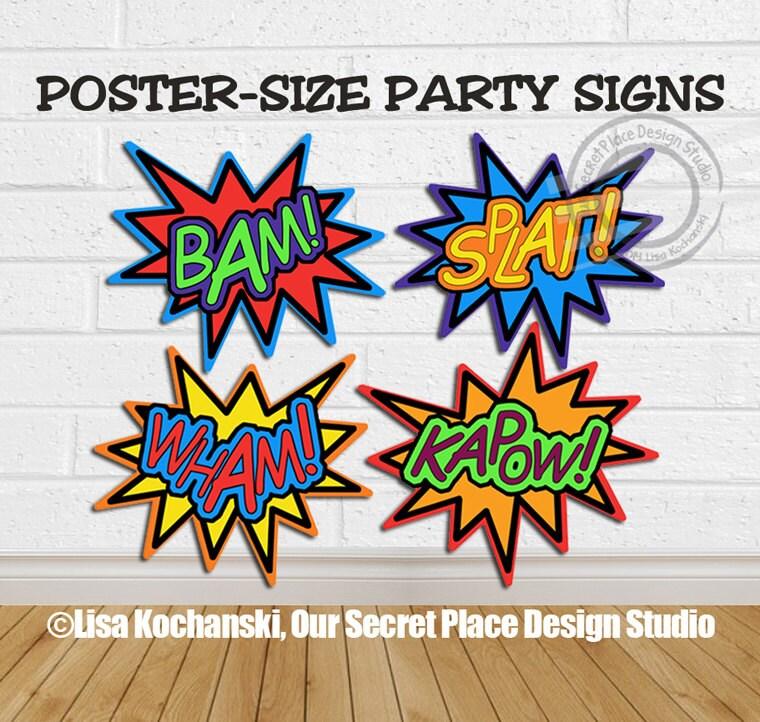 POSTER SIZE Printable Superhero Birthday Party Superhero Baby