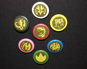 """Mighty Morphin Power Rangers - Power Coin 7 Set (1.25"""" Buttons)"""