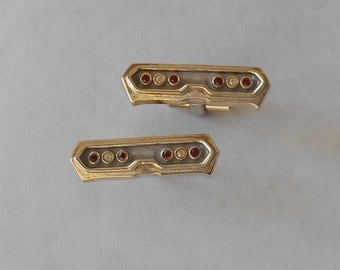 SALE Vintage Cufflinks and Tie Pin  1963 Chevy Tail Lights with Red and Faux Diamond Stones - Balfour