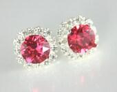 Crystal earrings,hot pink earrings,hot pink crystal earrings,Swarovski earrings,Hot pink bridesmaid earrings,hot pink wedding,pink wedding