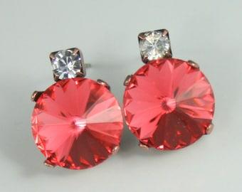 Bridesmaid earrings, swarovski crystal earrings, crystal earrings, crystal stud earrings, rivoli earring, padparadscha earrings, watermelon