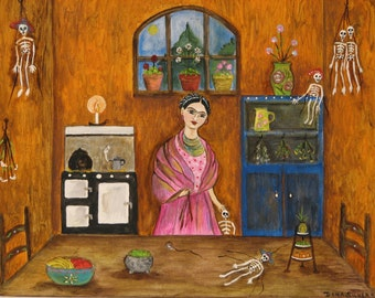 Print from Original creation of Dona Silver's Frida Kahlo Kitchen series. Frida art.Marionette art. Orange kitchen print. Coffee pot print