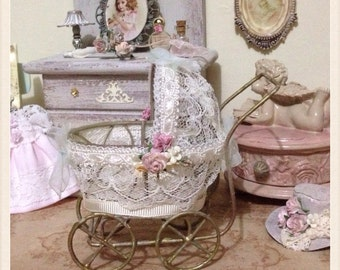 1/12 stroller from baby - miniatures - Dollhouse style shabby chic
