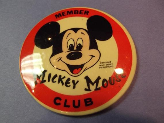 Vintage walt disney mickey mouse club button mickey mouse cartoon