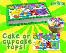Sesame Street personalized edible cake or cupcake toppers Birthday - Sugar elmo frosting sheet picture photo decal transfer sticker seseme