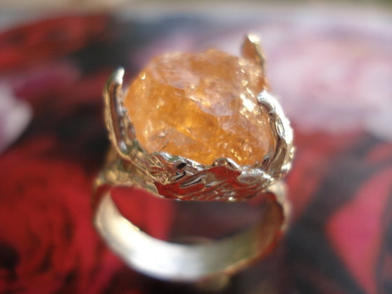 Raw Imperial Topaz Ring Rough Golden Imperial TopazRaw Imperial Topaz