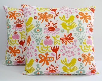Scandinavian Swedish fabric cushion cover - Klippan Birds & Butterflies