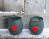 Heart Wedding Decor / Wedding Votive Candle Holder / Wedding Lighting / Rustic Wedding / Country Wedding / Forest Green Votive / Red / 6