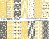 "Tribal ""DIGITAL PAPER"" Aztec inspired Ethnic Pattern  - Yellow"