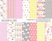 "Digital Paper Pack ""CUTE BALLOON & HEARTS"" Digital paper for scrapbooking, card, invites. Hot air balloon, love, hearts."