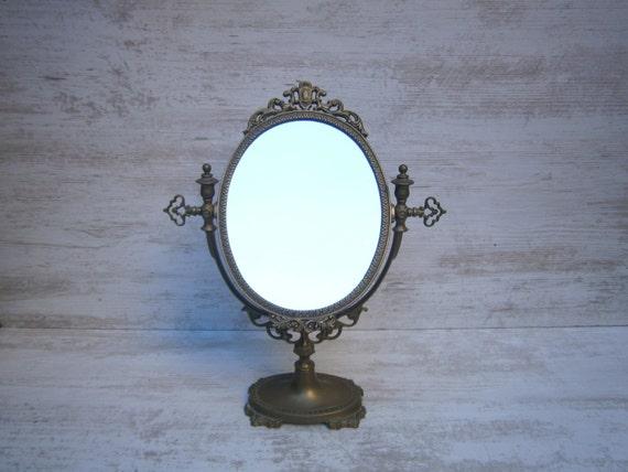 Antique miroir de beaut fran ais bronze xixe par for Miroir francais