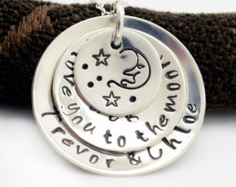 Personalized Necklace for Mom, Mother's Necklace, I Love You To The Moon, Hand Stamped Mommy Necklace, Gift, Mothers Day Necklace