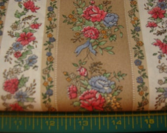 Brown and Beige's Stripes with rows of Roses on Cotton Fabric bty