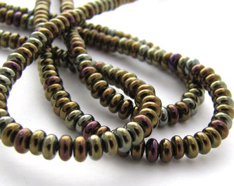 Iris Brown Czech Glass 4mm Rondelle Beads 100pc #592