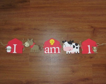 "Farm, Tractor, Animal ""I am 1"" Birthday High Chair Banner - 1st Birthday Party"