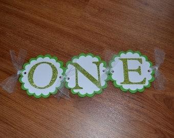 ONE Green Highchair Banner - First Birthday Party - Boy's Birthday