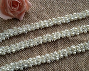 "Ivory Wedding Bridal Beaded Trim 36"" long 0.78""wide for Women sash, Wedding Belt, Costume Jewelry"