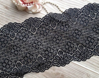 Black Stretch Lace Trim Soft Elastic Lace Fabric Trim for Weddings, Lingerie, Headbands Lace, Garters, Costumes