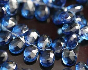 Kyanite Blue Quartz Faceted Pear Briolettes, 9 - 10 mm, 6 beads GM2226FP/10/6 #203