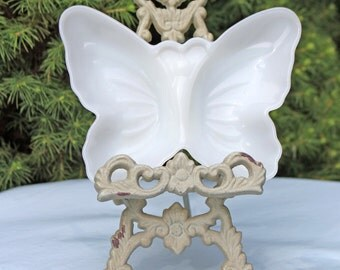 Avon Small Shallow Tray or Bowl Shaped as  Butterfly. Milk Glass Dish for Dresser Top Storage of Rings or Earrings.
