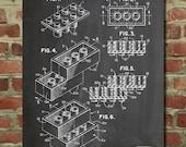 Lego Bricks Poster, Lego Building Blocks Patent, Lego Party, Lego Poster PP40