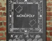 Monopoly Poster, Board Game Art, Monopoly Blueprint, Board Games PP131
