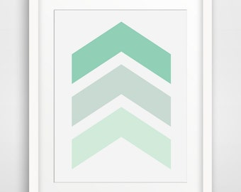 Chevron Wall Art, Mint Green Chevron Print, Mint Green, Pastel Green, Spring Green, Chevron Art