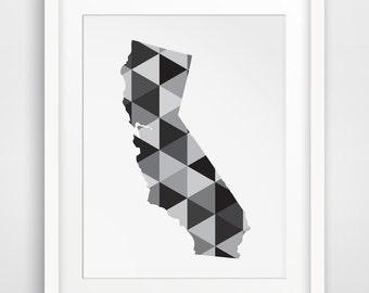 California Print, San Francisco Art, State Prints, Black and White California Wall Art, Hollywood Prints, San Diego Decor, Los Angeles Print