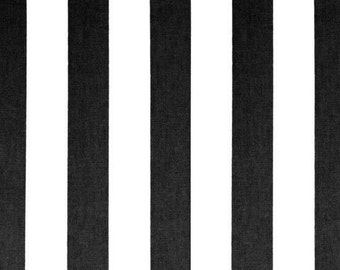 Ships Same Day Premier Prints Canopy Black And White Stripe Fabric Drapery Fabric Classic