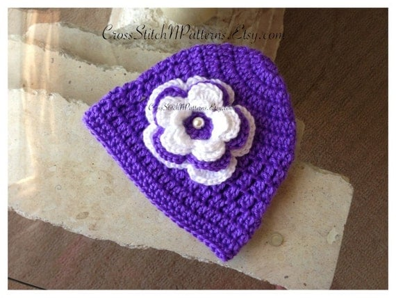 Crochet Flower Pattern For Baby Hat : PATTERN TN059 Crochet Baby Hat with Flower Baby Hat