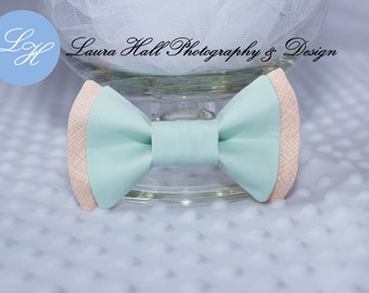 MINT Bow Tie - PEACH bow tie, plaid peach double bow bow tie, MINT bow tie, newborn bow tie, hair bow for girls, toddler boys bow tie