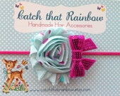 Sequin bow and flower Baby headband, baby girl headband, baby headband, newborn headband, flower girl headband,  toddler headband, flower